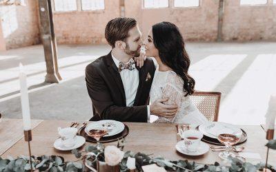 Hochzeitsinspiration im Industrial Chic in Mint, Grau & Blush