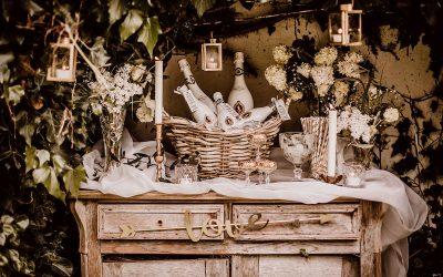 Bubbly Bar – Inspiration einer toskanischen Hochzeit in Weiß & Gold