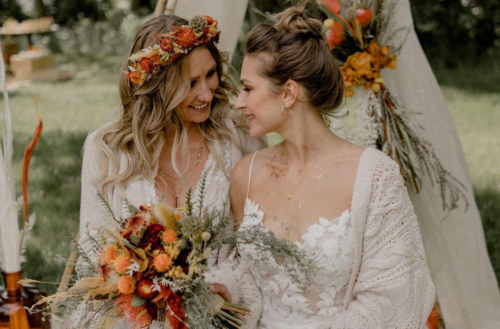 Gleichgeschlechtliche Trauung, Bohohochzeit, Outdoor Hochzeit, Festival Hochzeit
